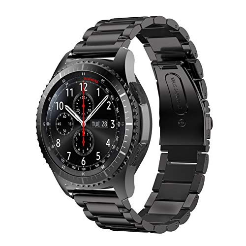 MroTech Correa Compatible para Samsung Gear S3 Frontier/Classic/Galaxy Watch 46mm Pulsera de Repuesto para Huawei Watch GT 2 /GT Sport/Active/Elegant Band 22mm Sólido de Acero Inoxidable Metal Negro