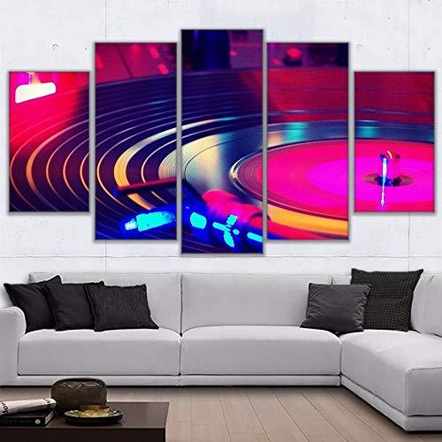 jknnw Quadro su Tela Stampe HD Quadri 5 DJ Strumento Musicale Giradischi Poster Decorazione per la casa DJ Giradischi Immagini
