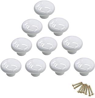 10 pomos redondos de cerámica de colores con un solo orificio tirador para armario aparador puerta cajón blanco