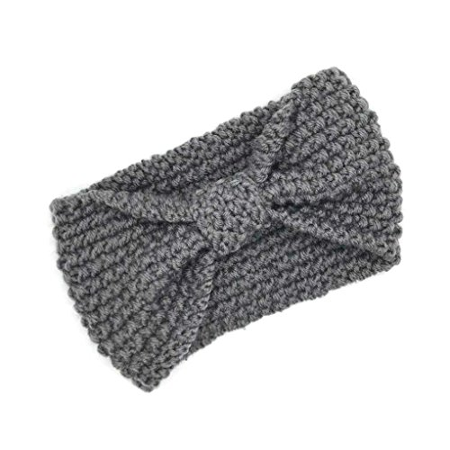 ELENXS New Girl Accessoires Cheveux Mode Hiver Chaud Bowtie Femmes Crochet Tressé Bonnet Cap Bandeau Lady Grey Hair Band