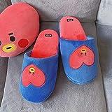 ypyrhh Zapatillas acogedoras de espuma viscoelástica para hombre, zapatos de piso de madera antideslizantes de felpa, zapatillas de algodón para parejas-Love_35-38, lavables para interior/exterior