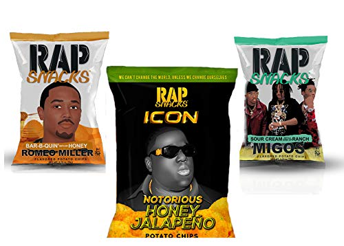 Rap Snacks potato chips variety pack - MIGOS, Romeo Miller, Fetty Wap - 2.75 oz bags (Pack of 3)