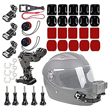 WLPREOE 37in1 Motorcycle Helmet Chin Mount Kits for GoPro Hero 9 8 7 Black Silver White 6 5 4 Osmo and Other Action Camera with Extra Camera Tethers Mount Bases and Adhesive Pads