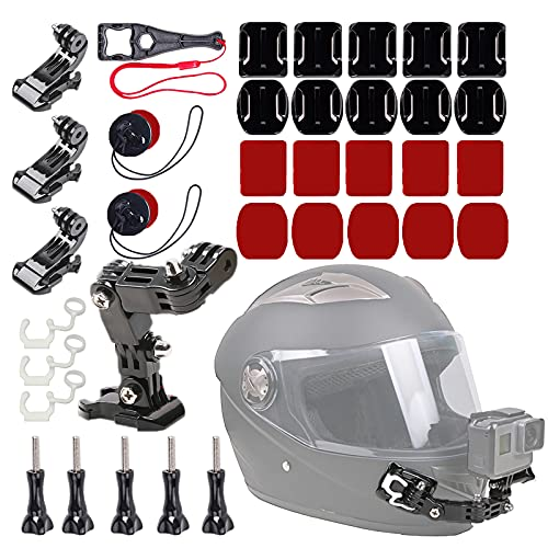 WLPREOE 37in1 Motorcycle Helmet Chin Mount Kits for GoPro Hero 10 9 8 7 Black Silver White 6 5 4 Osmo and Other Action Camera with Extra Camera Tethers, Mount Bases and Adhesive Pads