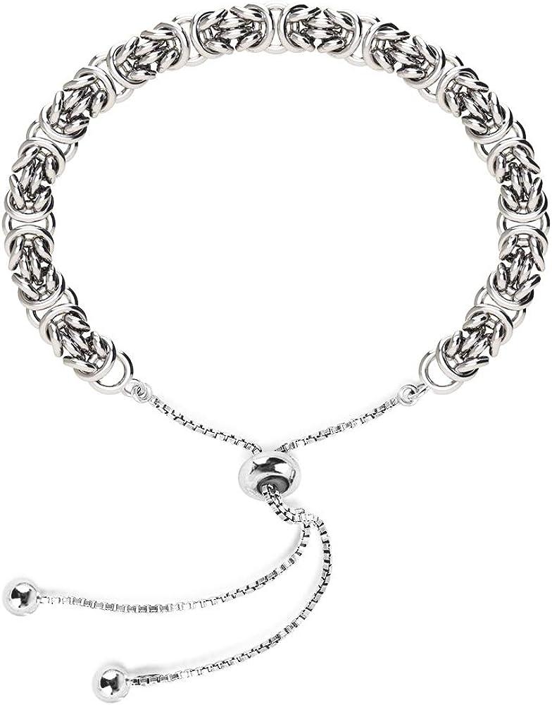 LeCalla Sterling Silver Jewelry Sliding Bolo Byzantine Bracelet
