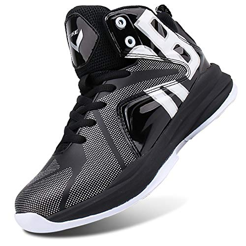 WETIKE Kid's Basketball Shoes High-Top Sneakers Outdoor Trainers Durable Sport Shoes(Little Kid/Big Kid) (13M US Little Kid, Armor Black)