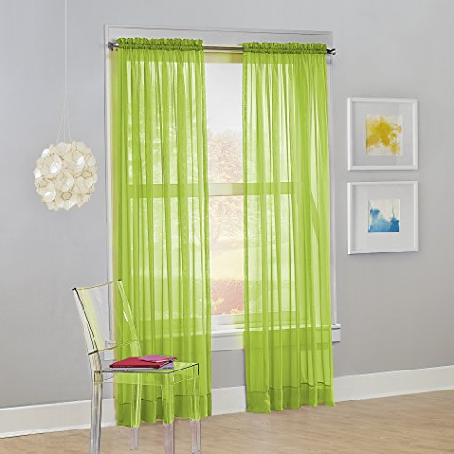 """No. 918 Calypso Sheer Voile Rod Pocket Curtain Panel, 59"""" x 84"""", Lime Green, 1 Panel"""