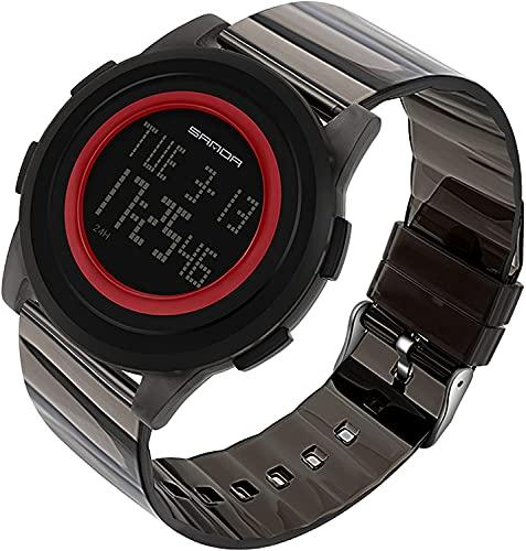 ZFAYFMA Reloj electrónico para hombre, correa transparente de poliuretano termoplástico, esfera grande, reloj digital de cuenta atrás luminoso, reloj deportivo, negro y rojo