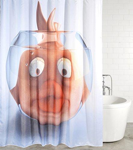 Duschvorhang Goldfisch 180 x 180 cm, hochwertige Qualität, 100prozent Polyester, wasserdicht, Anti-Schimmel-Effekt, inkl. 12 Duschvorhangringe