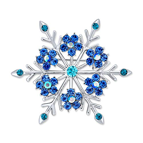 Bling Jewelry Large Frozen Winter Aqua Ice Blue Teal Crystal Holiday Party Snowflake Brooch Pin for Women Silver Plated
