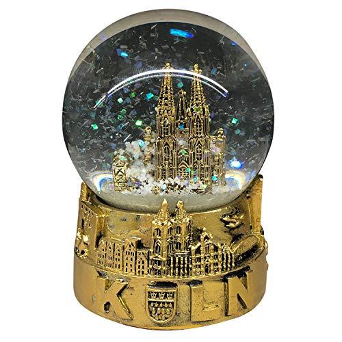 3forCologne Schneekugel Kölner Dom, Sockel mit Skyline Köln 8,5cm Glaskugel mit Schnee, Geschenk Weihnachten, in Gold