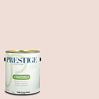 Prestige Paints P400-P-SW6315 Interior Paint and Primer in One, 1-Gallon, Satin, Comparable Match of Sherwin Williams White Dogwood, 1 Gallon, SW29-White
