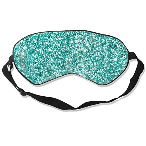 Premium Super weiche atmungsaktive Augenmaske mit verstellbarem Riemen – Türkis Glitzer – Lichtblockierende Schlafmaske für Reisen, Nickerchen, Yoga, Meditation
