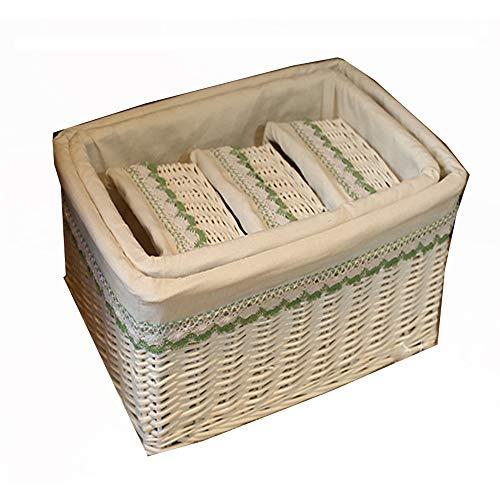 BESTSOON-HGT Cofre de almacenajeforro de Tela para Cesta de mim 5 Juego de cestas de Mimbre Hechas a Mano, cestas de Estante, cestas Decorativas Tejidas for el hogar, cestas Decorativas, organización