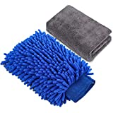 AUTODECO 2in1 Car Wash Mitt Extra Large Size Premium Chenille Microfiber Waterproof Wash Glove with Highly Absorbent Drying Cleaning Towel Lint Free Scratch Free Cleaning Tool Kit - 1 Mitt & 1 Towel