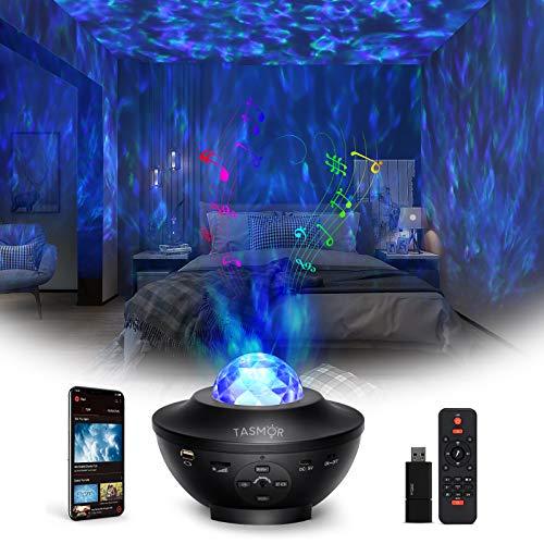 Tasmor Lámpara Proyector Estrella, 360° Rotación 10 colores Luces de Nocturna Estrellas con Bluetooth Altavoz/Remoto, Lámpara Infantil Nocturna Estelar, Luces Decorativas Habitación Fiesta…