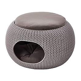 CURVER | Niche ronde aspect Tricot avec coussin, Sable, Pet Knit, 57x58x24 cm