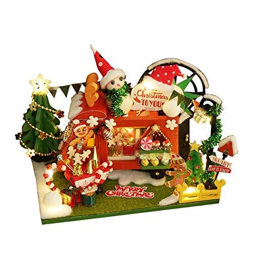 Casa de muñecas de Navidad, exquisita minitienda de regalo, kit con luces LED, juego de muebles de madera en miniatura, el mejor regalo de cumpleaños para mujeres y niñas.