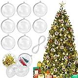 AFASOES 30 Pcs Bolas de Navidad Personalizadas Ø 60mm Bolas Transparentes Rellenables Esfera de Navidad para Rellenar y Pintar Decoracion de Esferas para Decoración Arbol de Navidad + Hilo 50m
