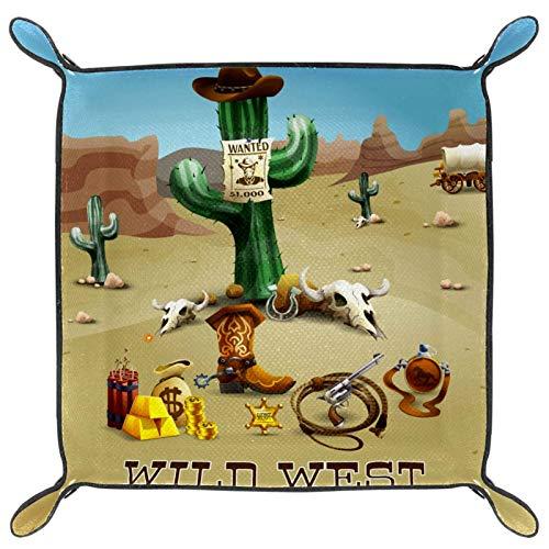rogueDIV Bandeja plegable de piel sintética para guardar relojes, joyas, cactus salvaje oeste