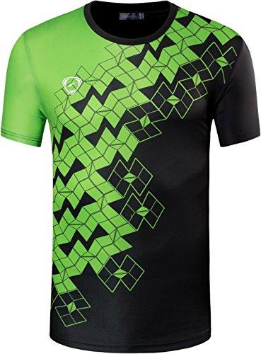 jeansian Herren Sport Tee Shirt Tshirt T-Shirt Kurzarm Tops Tennis Golf Bowling Trockener Sitz LSL111 Black XL