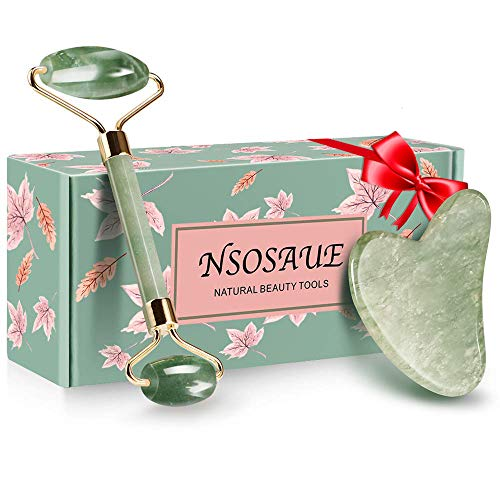 Natural Jade Roller for Face - Face Roller Gua Sha Scrapping - Aging Wrinkles,Puffiness Facial Skin Massager - Premium Authentic Jade Stone (Jade Roller&Guasha Set)