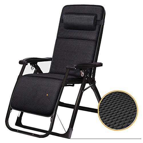 TH Chaise Longue Fauteuil Pliant Zero Gravity Lounge, Inclinable Réglable avec Coussins Et Oreillers, pour Camping Balcon de Jardin de Plage Noir
