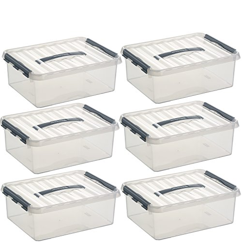 6x SUNWARE Q-Line Box - 12 Liter - 400 x 300 x 140 mm - transparent/grau
