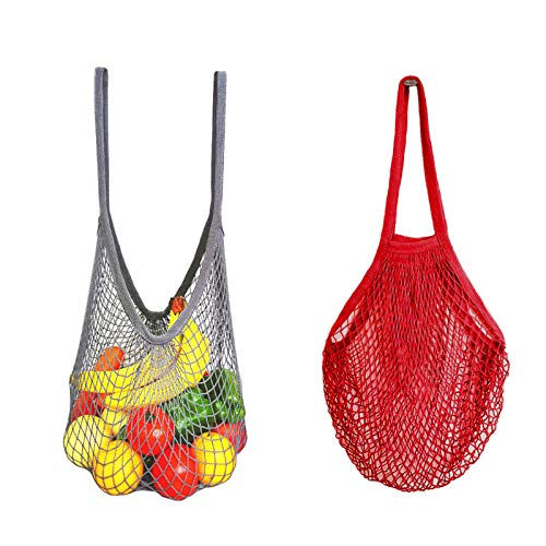 2 Pack Extra-Large Cotton Net String Shopping Bag with Long Handle, AUHOKY Custom Plus-Size Mesh Market Tote Organizer for Grocery Shopper Fruit Vegetable Toys - Study & Eco-Friendly (Gray/Red)