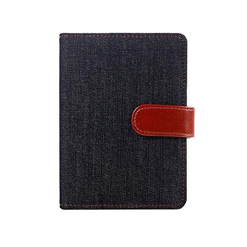 Denim Tela de piel sintética diario Notebook con cierre magnético/tarjetero/para el bolígrafo, 5,62x 4.05cm, color negro
