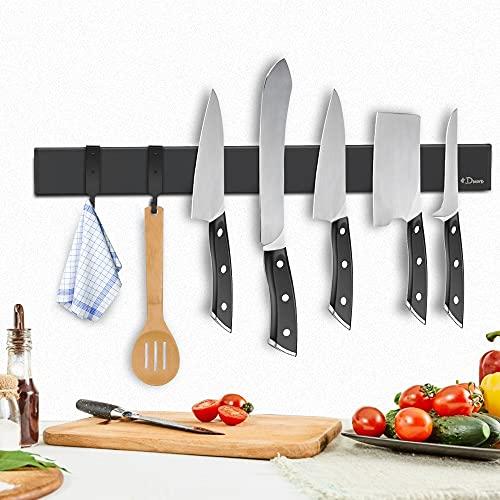 Dmore Soporte magnético para cuchillos, color negro, 2ª generación con gancho, 40 cm, barra magnética, extremadamente autoadhesivo, soporte cuchillos de acero inoxidable una cocina ordenada