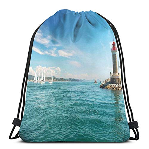 LLiopn Drawstring Sack Backpacks Bags,Day by The Seaside Sailboats Lighthouse Rocks Clear Sea Clouds Island Seascape,Adjustable.,5 Liter Capacity,Adjustable.
