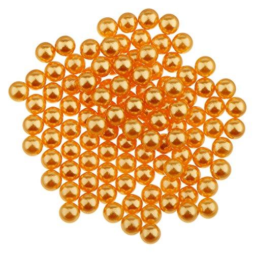 yotijar 150 perlas de imitación de colores sin agujero, cuentas de plástico ABS, fabricación de joyas artesanales. dorado