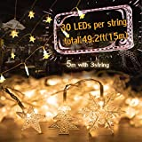 AOLIY Set of 3 Christmas Decoration String Lights Battery Operated with 8 Modes Flashing Fairy Lights, 14.8ft Snowflake Twinkle Star&Christmas Tree 30 LED Each for Indoor Outdoor Christmas Party.