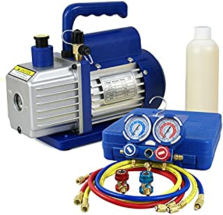 ZENY 3,5CFM Single-Stage 5 Pa Rotary Vane Economy Vacuum Pump 3 CFM 1/4HP Air Conditioner Refrigerant HVAC Air Tool R410a 1/4 Flare Inlet Port, Blue (3.5CFM Vacuum Pump + Manifold Gauge Set)