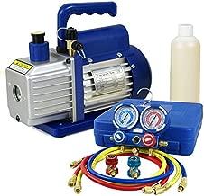ZENY 3,5CFM Single-Stage 5 Pa Rotary Vane Economy Vacuum Pump 3 CFM 1/4HP Air Conditioner Refrigerant HVAC Air Tool R410a 1/4 Flare Inlet Port, Blue (3.5CFM Vacuum Pump + Manifold Gauge Set)