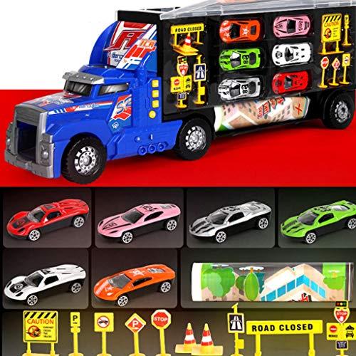 Glzcyoo Súper Transporte del Carro del Portador Juguete - Plástico Transporter/Case - Reparto Coches Mini, Mini Semi-Truckwith Luces y música, de Juguete de Regalo Ideal for los niños (Color : D)