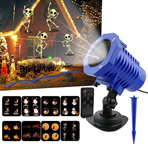 New Animated Projector Lights,8 Slides LED Projector Night Lamp IP65 Waterproof Landscape Projector with Remote Control for Holiday Party and Garden Decorations