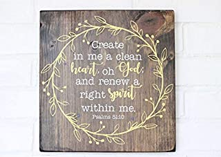 AIGUOQQ Create in Me a Clean Heart Wooden Sign, Christian Decor, Wooden Sign with Vines, Scripture Wall Decal, Psalms 51:10, Christian Wood Sign