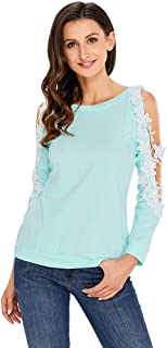 Women's T-Shirt, Fashionable Lace Round Neck Sexy Strapless Exquisite Lace Stitching Casual Loose Long-Sleeved Top,c,M