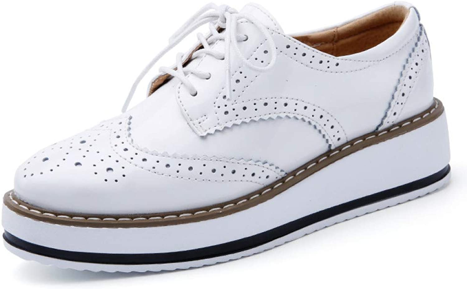 DETAIWIN Women Platform Casual shoes Lace Up Non Slip Wingtip Comfy Perforated Ladies Flats Brogue Oxfords shoes