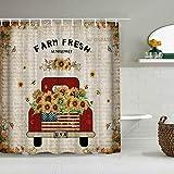 QINCO Duschvorhang,Frischer Bauernhof-roter LKW beladen mit Sonnenblumen-Retro-Zeitung,personalisierte Deko Badezimmer Vorhang,mit Haken,180 * 180