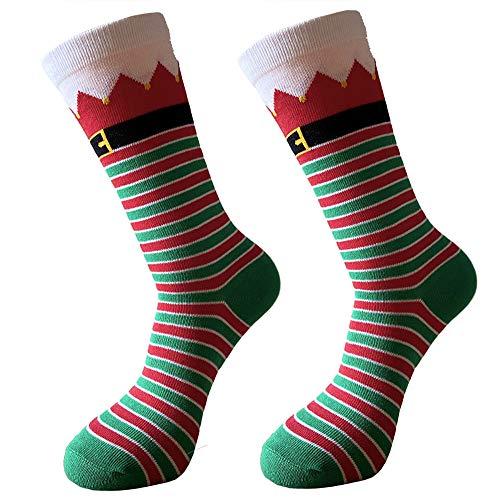 Christmas Socks Unisex Funky Novelty Holiday Crew Socks Jacquard Stripe Socks Mid-Calf Fun Socks