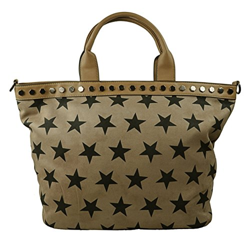 CAPRIUM Shopper Handtasche Zeitlos mit Sternen, Schultertasche, Umhängetasche, Damen 000019 (Khaki)