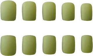 Uñas postizas acrílicas de color liso con cubierta completa color verde aguacate 24 unidades color verde esmeralda
