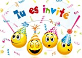 Edition Colibri Invitations Smiley en Français Let's Have a Party, Lot de 10 Cartes d'Invitation rigolotes Smiley-/Émoticône pour Un Anniversaire des (10719 FR)