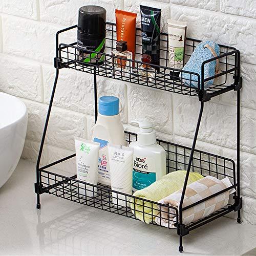 kaileyouxiangongsi 2-Tier Bathroom Countertop Organizer -Cosmetic Organizer- Makeup Organizer Holder for Bathroom -Kitchen Organizer Storage Wire Shelves Basket (Black)