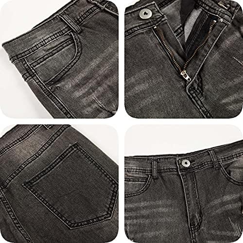 Koodred Men's Ripped Distressed Destroyed Skinny Slim Fit Tapered Leg Stretch Denim Pants Jeans Grey