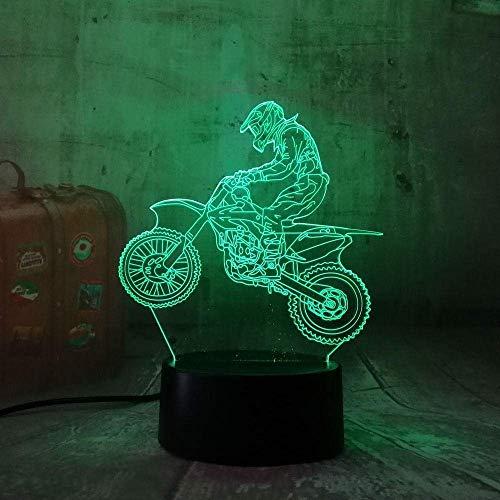 Luz de noche 3D 3D motocicleta LED cool boy regalo luz de noche LED lámpara de mesa gradiente RGB regalo de cumpleaños y año nuevo para niños
