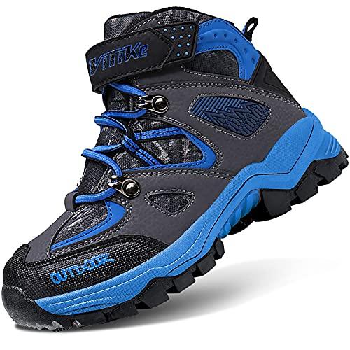 Jungen Winterschuhe Winterstiefel Wanderschuhe Kinder Baumwollschuhe Mid Schneestiefel Mädchen Trekking Stiefel Warm Wanderstiefel(B Blau,36 EU)